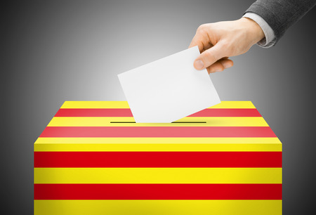 polling booth: Voting concept - Ballot box painted into Catalonia national flag colors