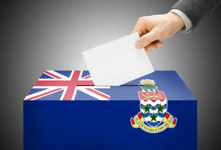 cayman islands: Voting concept - Ballot box painted into Cayman Islands national flag colors