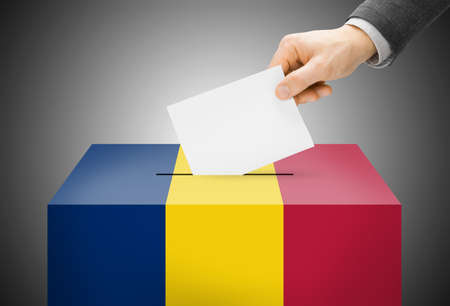 chadian: Voting concept - Ballot box painted into Chad national flag