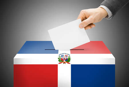 Voting concept - Ballot box painted into national flag colors - Dominican Republic