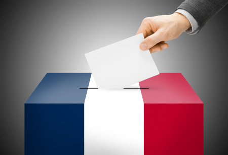 Voting concept - Ballot box painted into France national flag