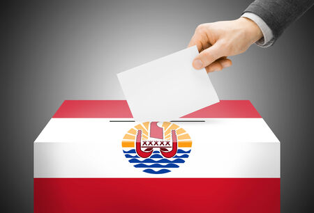 polling booth: Voting concept - Ballot box painted into French Polynesia national flag Stock Photo