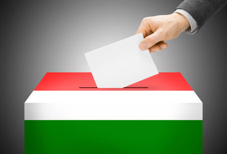 electoral system: Voting concept - Ballot box painted into Hungary national flag