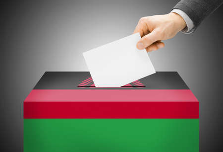 malawian flag: Voting concept - Ballot box painted into Malawi national flag Stock Photo