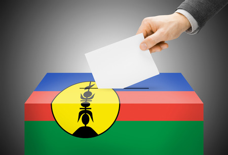 new caledonia: Voting concept - Ballot box painted into New Caledonia national flag Stock Photo