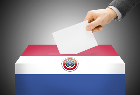 polling booth: Voting concept - Ballot box painted into Paraguay national flag