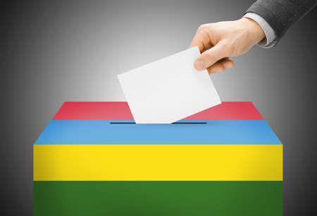 Voting concept - Ballot box painted into national flag colors - Mauritius
