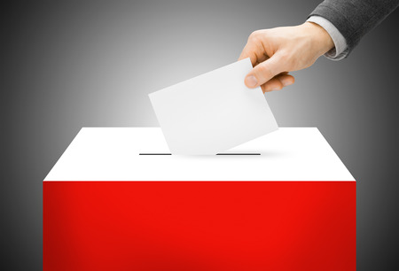 inserting: Voting concept - Ballot box painted into Poland national flag