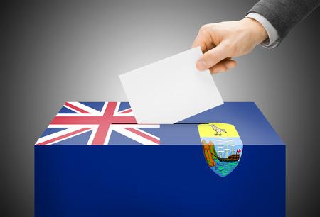 helena: Voting concept - Ballot box painted into Saint Helena national flag Stock Photo