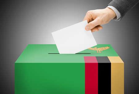 zambian: Voting concept - Ballot box painted into Zambia national flag
