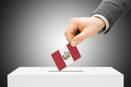polling booth: Voting concept - Male inserting flag into ballot box - Peru