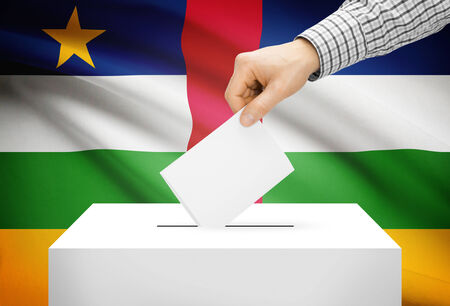 Voting concept - Ballot box with national flag on background - Central African Republic Stock Photo