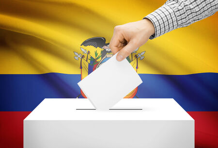 electoral: Voting concept - Ballot box with national flag on background - Ecuador Stock Photo