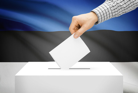 plebiscite: Voting concept - Ballot box with national flag on background - Estonia