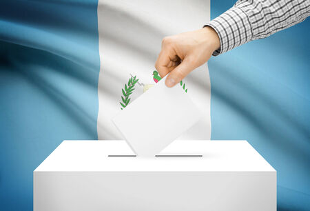 plebiscite: Voting concept - Ballot box with national flag on background - Guatemala Stock Photo