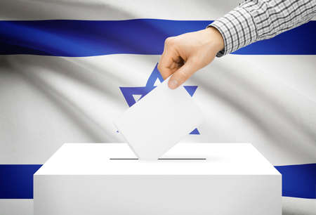 local election: Voting concept - Ballot box with national flag on background - Israel Stock Photo