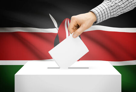 Voting concept - Ballot box with national flag on background - Kenya photo