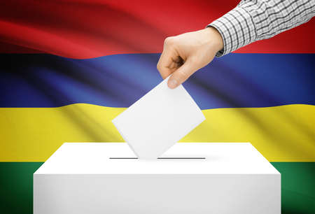 Voting concept - Ballot box with national flag on background - Mauritius photo