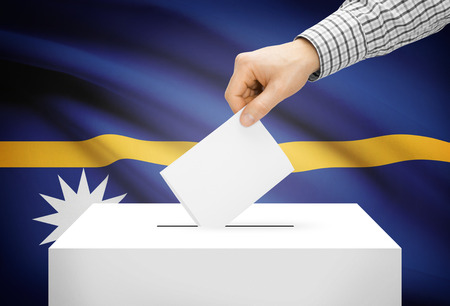 electoral system: Voting concept - Ballot box with national flag on background - Nauru