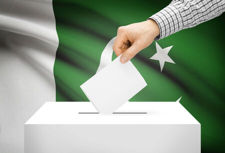 Voting concept - Ballot box with national flag on background - Pakistan photo