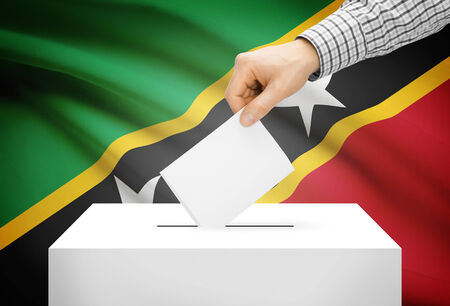 polling booth: Voting concept - Ballot box with national flag on background - Saint Kitts and Nevis