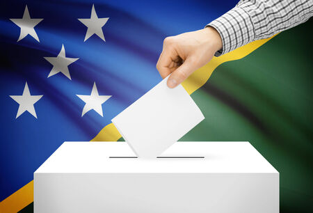 plebiscite: Voting concept - Ballot box with national flag on background - Solomon Islands