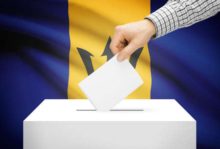 barbadian: Voting concept - Ballot box with national flag on background - Barbados Stock Photo