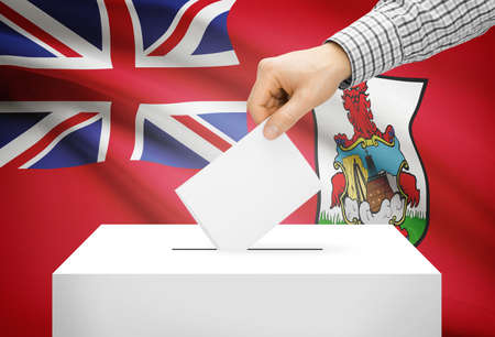 electoral system: Voting concept - Ballot box with national flag on background - Bermuda
