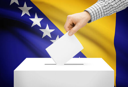 Voting concept - Ballot box with national flag on background - Bosnia and Herzegovina photo