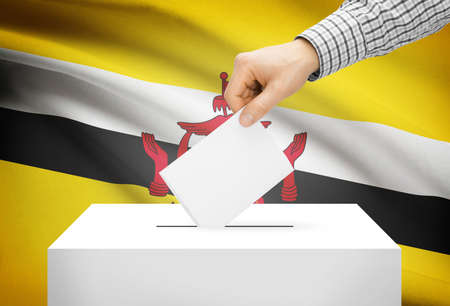 plebiscite: Voting concept - Ballot box with national flag on background - Brunei