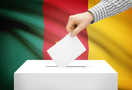 Voting concept - Ballot box with national flag on background - Cameroon photo