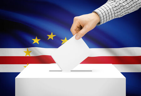 political system: Voting concept - Ballot box with national flag on background - Cape Verde