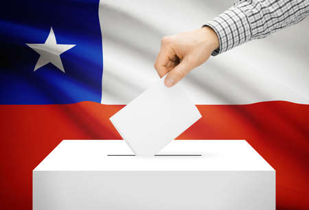 Voting concept - Ballot box with national flag on background - Chile photo