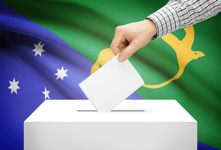political system: Voting concept - Ballot box with national flag on background - Christmas Island