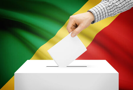 political system: Voting concept - Ballot box with national flag on background - Republic of the Congo