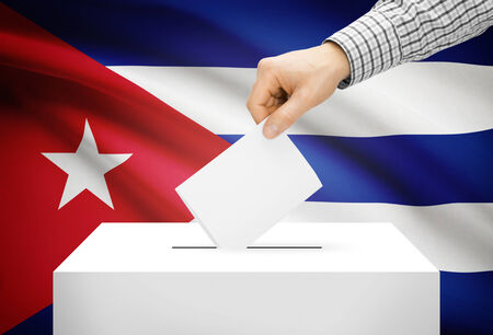 Voting concept - Ballot box with national flag on background - Cuba photo