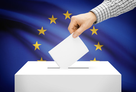 Voting concept - Ballot box with national flag on background - European Union