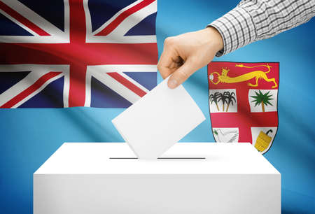 electoral system: Voting concept - Ballot box with national flag on background - Fiji Stock Photo