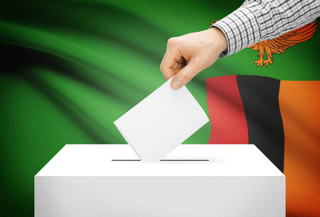 zambian: Voting concept - Ballot box with national flag on background - Zambia
