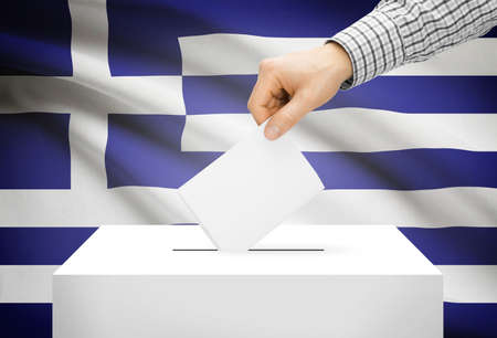 plebiscite: Voting concept - Ballot box with national flag on background - Greece