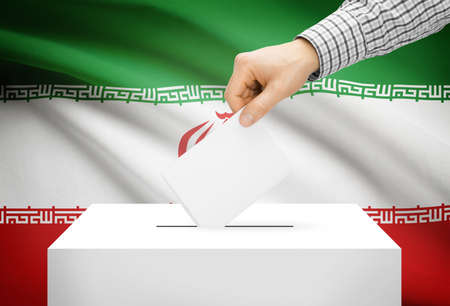 Voting concept - Ballot box with national flag on background - Iran photo