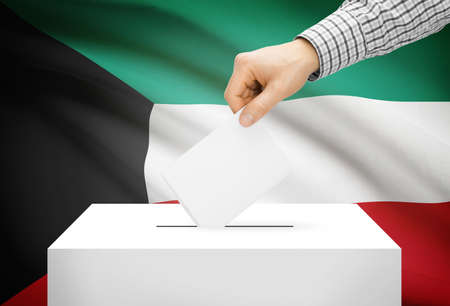 plebiscite: Voting concept - Ballot box with national flag on background - Kuwait
