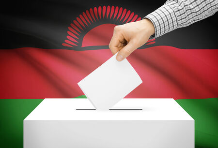 malawian flag: Voting concept - Ballot box with national flag on background - Malawi