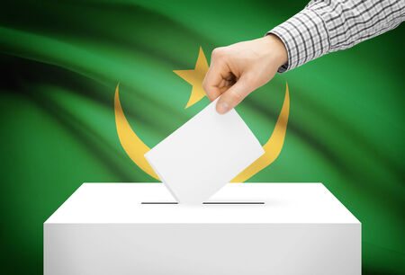 Voting concept - Ballot box with national flag on background - Mauritania photo