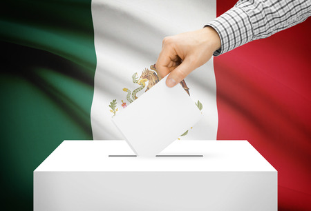 ballot box: Voting concept - Ballot box with national flag on background - Mexico
