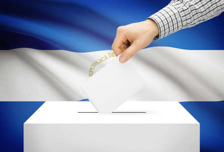 political system: Voting concept - Ballot box with national flag on background - Nicaragua