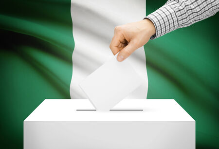 ballot box: Voting concept - Ballot box with national flag on background - Nigeria Stock Photo