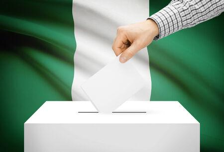ballot box: Voting concept - Ballot box with national flag on background - Nigeria Stock Photo