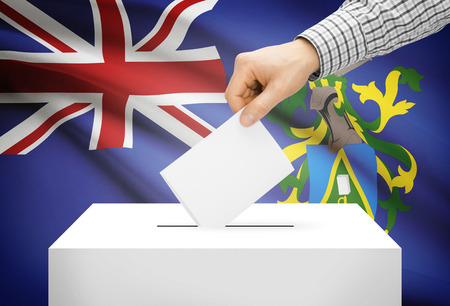 pitcairn: Voting concept - Ballot box with national flag on background - Pitcairn Island