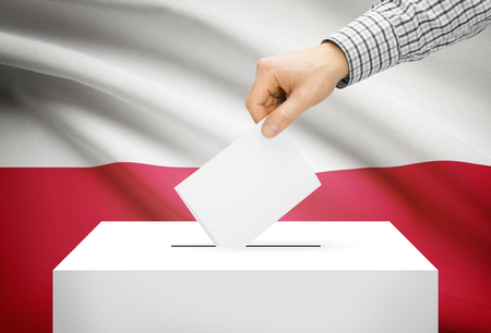 Voting concept - Ballot box with national flag on background - Poland photo